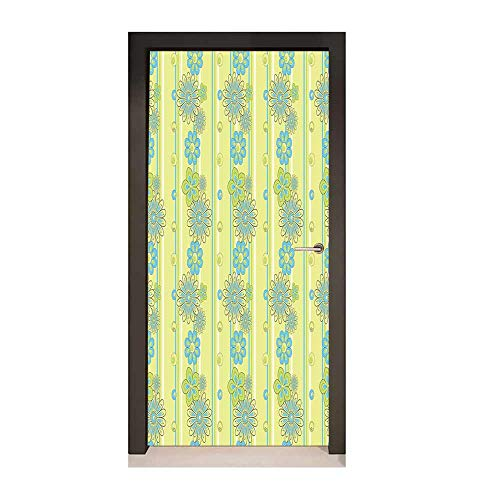 Homesonne Yellow and Blue 3D Murals Wall Stickers Blooming Ornate Flower Motifs Vertical Stripes Dots for Office Decoration Pistachio Green Sky Blue Mustard,W23xH70