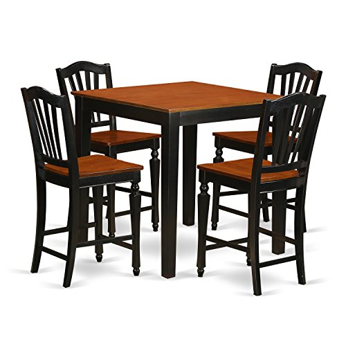 East West Furniture PBCH5-BLK-W 5 Piece Pub Table and 4 Bar Stools Set