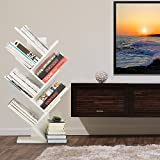 WSTECHCO 7 Shelf Tree Bookshelf Compact Book Rack Bookcase Display Storage Furniture for CDs, Movies & Books Holds Up To 7 Books Per Shelf (White)