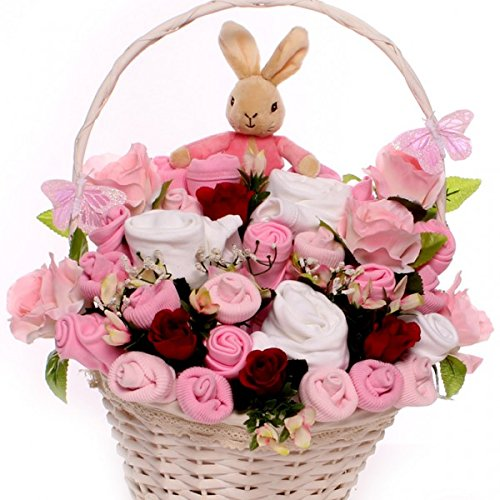 Luxury Flopsy Bunny Baby Bouquet Presented In A Wicker Gift Basket, Large Baby Bouquet Gift For A Baby Girl, Welcome To The World Baby Gift, Luxury baby gift basket size 0-3 months corporate baby gift idea My Kind of Gift