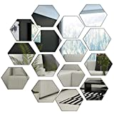 #7: BBTO 15 Pieces 9 cm Adhesive Mirror Wall Stickers Hexagon Mirror Sheet for Home Bedroom Decor, Silver, 1 mm Thickness