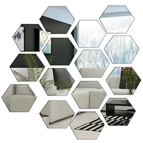 BBTO 15 Pieces 9 cm Adhesive Mirror Wall Stickers Hexagon Mirror Sheet for Home Bedroom Decor, Silver, 1 mm Thickness ()