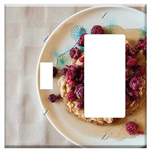 (1-Toggle 1-Rocker/GFCI Combination Wall Plate Cover - Food Breakfast Pancake Fruit Raspberries Meal)