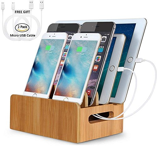 LENPOW Bamboo Charging Stations Dock Charger Stand Holder Phone Organizer for Multi Devices iPhone iPad Tablet, Office Cable Tools Desktop Storage Box, Strong Build of Eco Bamboo. Charger Not Included by LENPOW