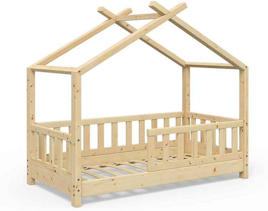 VitaliSpa Design Kinderbett Hausbett Kinderhaus Bett Massivholz Holz Holzbett Kinder 70x140cm Natur 1