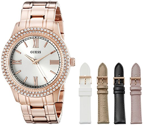 GUESS Women's U0713L3 Luxurious Rose Gold-Tone Watch Set with Metal Bracelet and 4 Interchangeable Straps Inside a Bonus Jewelry Box