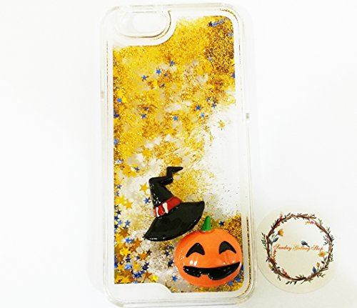 Sunday Gallery Halloween iPhone Case, Pumpkin Witch Hat Dynamic Liquid Quicksand Hard Case Cover For iPhone 6S 4.7