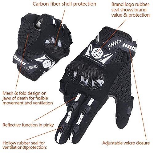 SCOYCO Screen Sensitive Carbon Fiber Knuckle Reinforced Breathable Shockproof Wear Resistant Warm Crashproof Cycling Racing Motorcycle Gloves(BLACK,XL) by SCOYCO (Image #5)