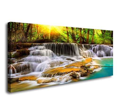 Cao Gen Decor Art-S01662 1 Panels Wall Art Beautiful Waterfall Prints Yellow Forest Natural Landscape Picture Canvas Paintings Stream Water Scenery for Home Decorations Wall Decor ()