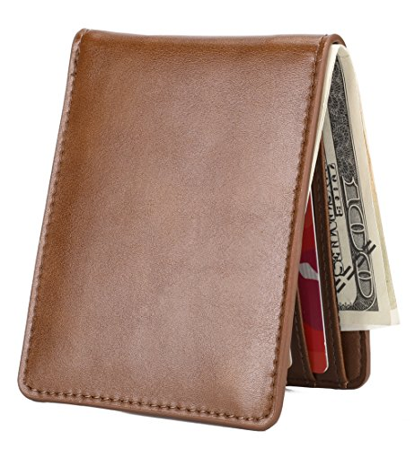 Mens Slim Front Pocket Wallet ID Window Card Case with RFID Blocking - Brown