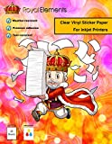 Royal Elements Clear Printable Vinyl Sticker Paper for Inkjet Printers - 20 Blank 8.5' x 11' Waterproof Full Sheet Labels - Permanent Decals