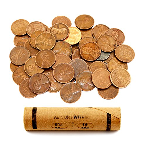 Lincoln Wheat Penny Roll (50 Coins) by AIIZ Collectibles, Mixed