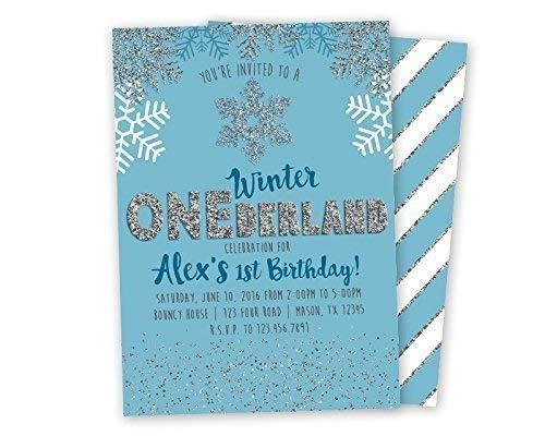 Winter ONEderland Birthday Invitations First Wonderland Blue Silver Glitter 1st ()