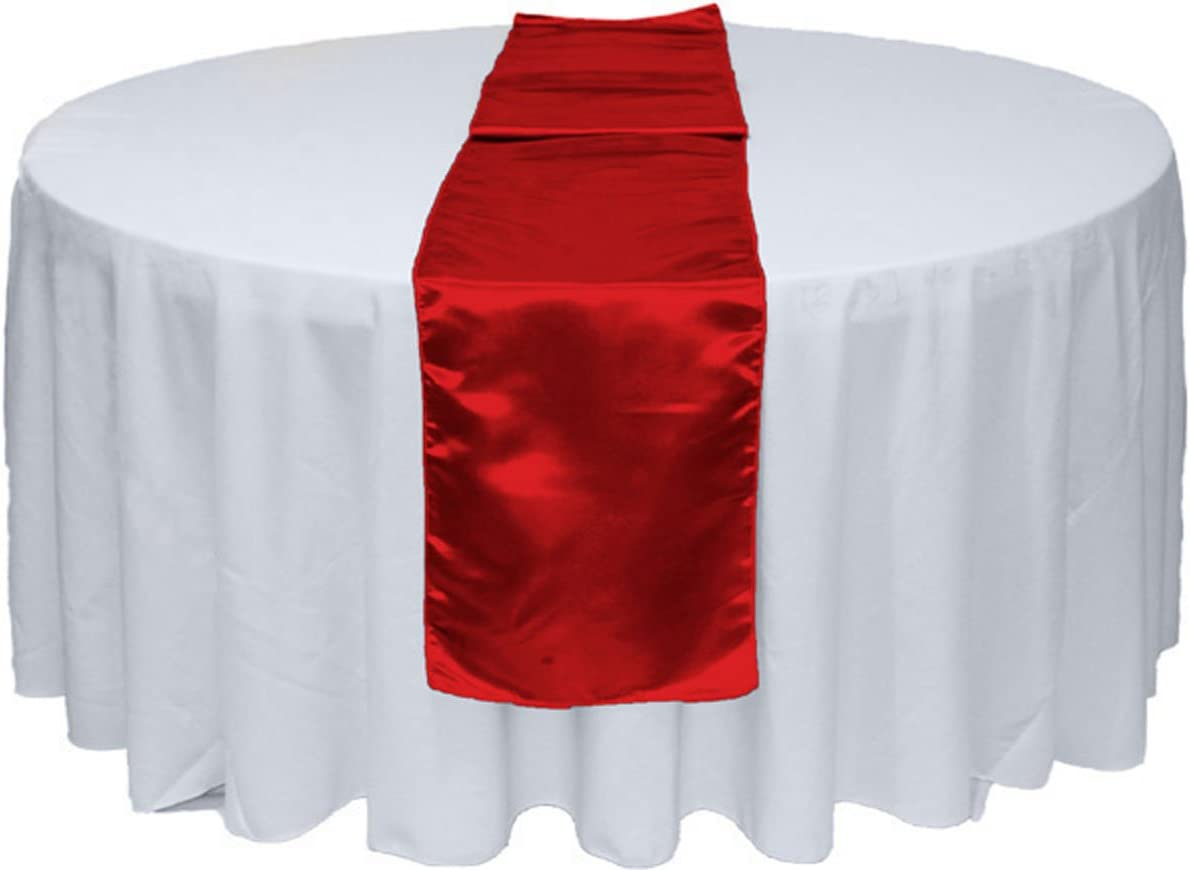 GWHome 5pcs 12 X 108 inches Satin Table Runner for Wedding Party Banquet Rectangular and Round Table (5, Red)