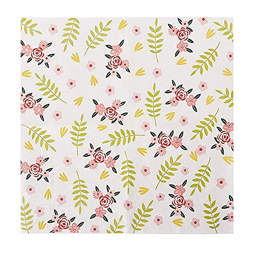 Floral Paper Napkins - 100-Pack Disposable Tea Party Napkins, Weddings, Bridal Shower Party Supplies, 2-Ply, Vintage Flowers, Flower Decoupage Supplies, Luncheon Size Folded 6.5 x 6.5 Inches