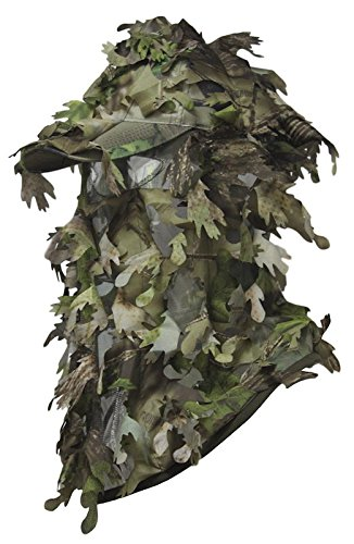 Leafy Camo (North Mountain Gear Outdoor 3D Ghillie Leafy Camouflage Hunting Hat Cap Lid Large Laser Cut Leafs Camo Face Mask Great for Paintball Airsoft Archery Stalking)
