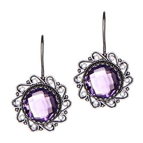 - Amethyst Sterling Silver Artisan Filigree Earrings