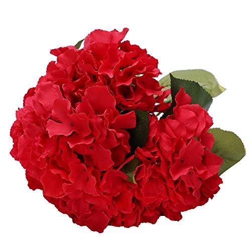 Houda Artificial Silk Hydrangea Bouquet Fake Flowers Arrangement Home Wedding Decor (Red) (Hydrangea Artificial Arrangement)