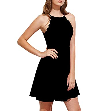 Women s Halter Neck Sleeveless Dresses Sweet Scallop Flared Swing Pleated A- line Skater Mini Dress 415c706124eb
