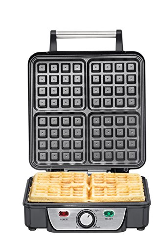 Chefman Belgian Waffle Maker, 4-Slice, Stainless Steel Non-Stick Cooking Surface, Cool Touch Handle, Adjustable Browning Control, Power/Ready Lights, Waffle Cookbook Included - RJ04-4P by Chefman (Image #3)'
