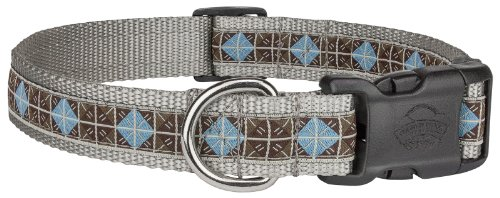 Country Brook Design Deluxe Blue & Brown Diamond Woven Ribbon on Silver Dog Collar Limited Edition (Large, 1 Inch Wide)
