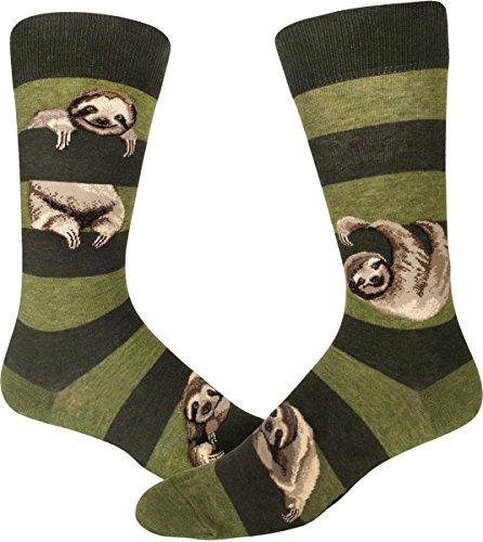 ModSocks Men's Sloth Stripe Crew Socks - Heather Peat