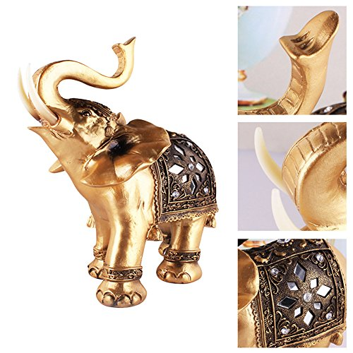 (JRT Innovative Golden Elephant Wealth Lucky Feng Shui Figurine Table Ornaments Home Living Room TV Cabinet Study Car Decor Accessories)