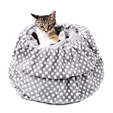 PAWZ Road 3-in-1 Cat Sleeping Bag Grey,Snuggly Dog beds Puppy Sack Kitten Tunnel Bed - Cave Style Ultra Warm and Soft for Pets Up to 20 Lbs