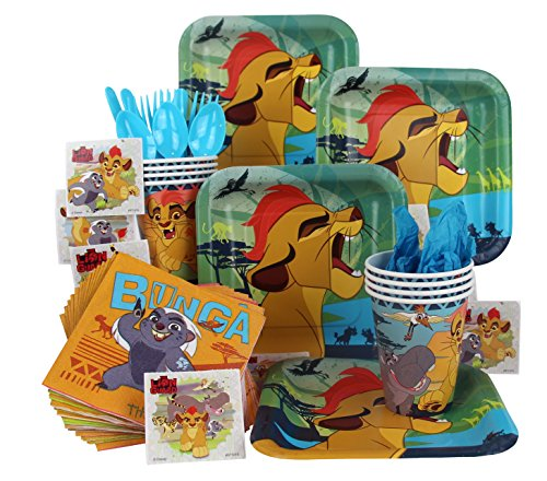 The Lion Guard Party Pack Seats 8 - Napkins, Plates, Cups, Cutlery & Stickers - The Lion Guard Party Supplies, Standard Party Pack