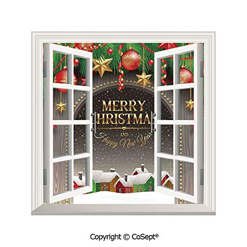 SCOXIXI Window Wall Sticker,Classic Rustic Design Season Greetings Golden Letters Village Ornaments,3D Window View Decal Home Decor Deco Art (26.65x20 inch)