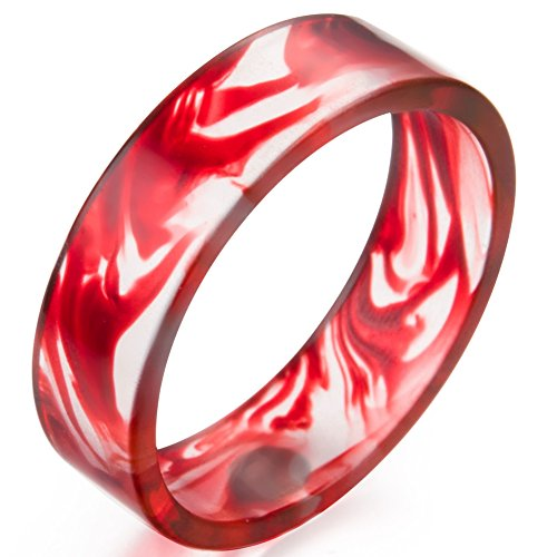 Transparent Mens Ring - Jude Jewelers 8mm Transparent Plastic Resin Band Style Ring (Red, 8)