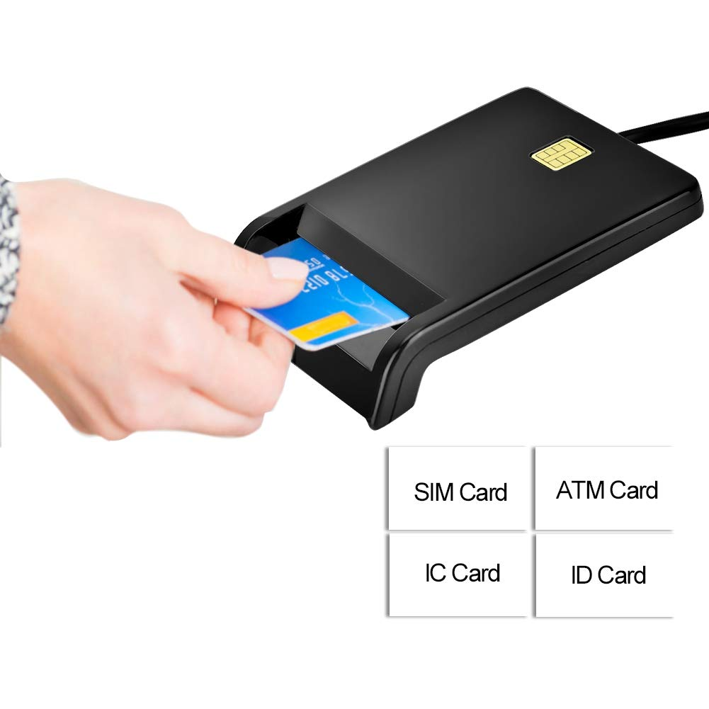 Black Online Shopping with Credit Card USB Ethernet Adapter for Smart Card Reader Sim//ATM//Ic//Id,