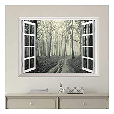 Grand Style, Created By a Professional Artist, White Window Looking Out Into a Road That Leads to a Dark Foggy Forest Wall Mural