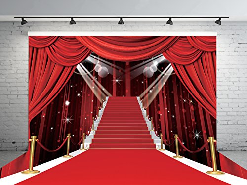 7x5ft Stage Lighting Red Carpet Photo Backdrops CP Customized Studio Background Studio Props RM-032 (Fashion Hollywood Carpet Red)