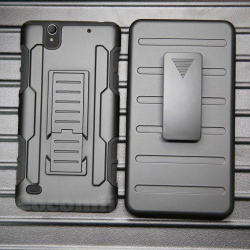 Cocomii Robot Armor Sony Xperia C4 Case New [Heavy Duty] Premium Belt Clip Holster Kickstand Shockproof Hard Bumper [Military Defender] Full Body Dual Layer Rugged Cover for Sony Xperia C4 (R.Black)