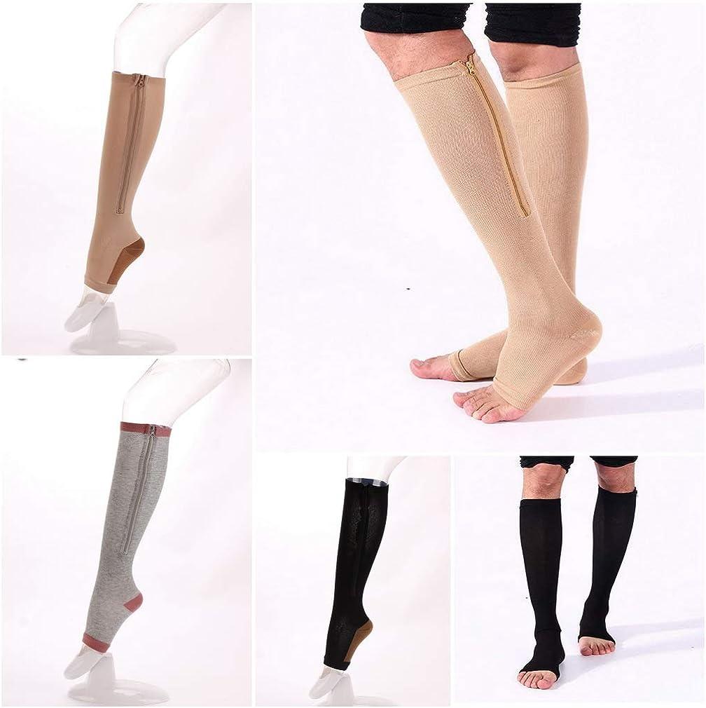 AOYOMO Unisex Women Knee High Open Toe Stocking Zipper Calf Compression Socks