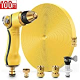 Garden Hose 100ft Flat Water Hose with Nozzle, No Kink Durable Flexible Outdoor 3-Layer Garden Hose with 3/4 inch Solid Brass Quick Connector and High Pressure Water Gun for Patio Lawn Plant