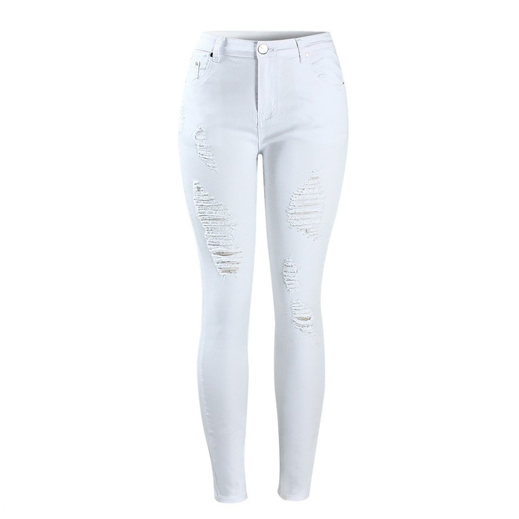 SKINNY JESNS Distressed Curvy White Mid High Waist Stretch Denim Pants Ripped Skinny Jeans for Woman Jean