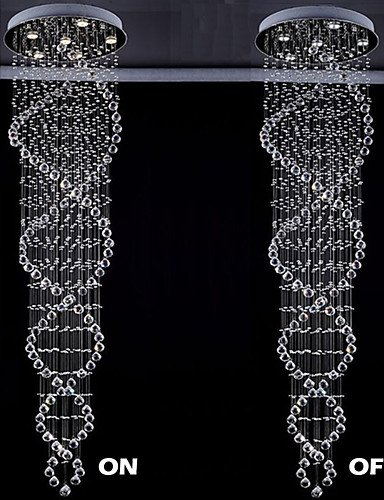 ZQ Modern LED Ceiling lampThe Double Helix Design Indoor Crystal Chandelier Lighting Fixtures D21.65 H86.6, Cool white-110-120v ()