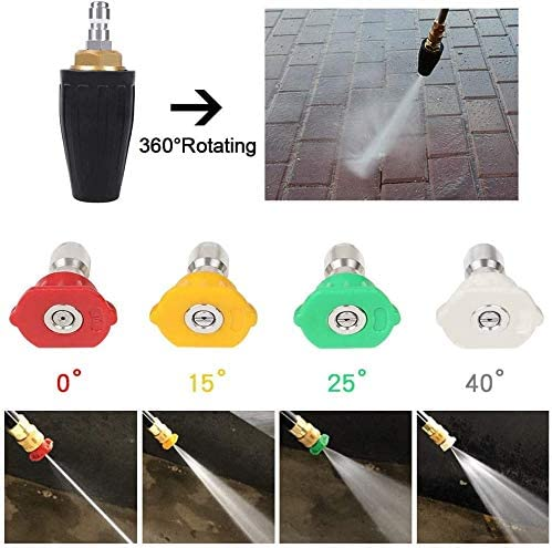 0,15,25,40,Soap JMEOWIO Pressure Washer 3000PSI Kit 360/°Rotating Presure Washer Turbo Nozzles 1//4Quick Connect with 5 Nozzle Tips Kit Multiple Degrees 3.0 GPM 3.0 Orifice