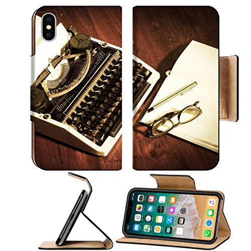 MSD Premium Apple iPhone X Flip Pu Leather Wallet Case Typewriter with book and eyeglasses vintage color IMAGE - Changing Color Eyeglasses