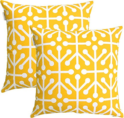 TreeWool, (2 Pack) Throw Pillow Covers Octaline Accent Decorative Pillowcases Toss Pillow Cushion Shams Slips Covers for Sofa Couch (20 x 20 Inches / 50 x 50 cm; Yellow), White (Geometric Toss Pillow)