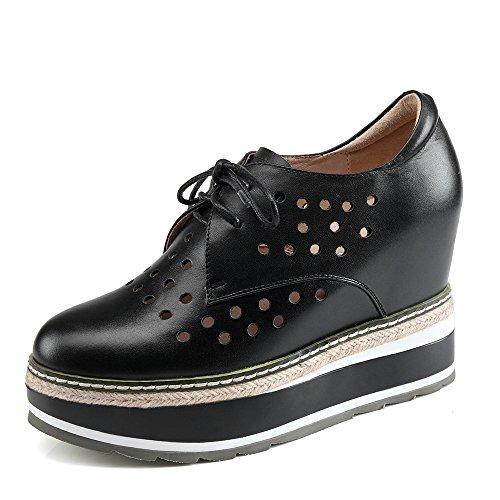 Nine Seven Cuero Puntera Redonda Zapatos de cordones de Tacón de Cuña con Hueco para Mujer negro