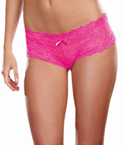 (Dreamgirl Women's Stretch Lace Low Rise Cheeky Hiphugger Panty with Scalloped Lace and Satin Bow Trim, Hot, Pink, Large)