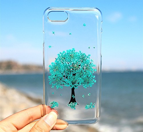 Lg Resin Tree - Blue Tree iPhone 8 8 Plus 7 7 Plus 6/6s 6/6s Plus Phone Case- Pressed Dried Flowers Case On LG V20, LG G6 - Floral Cover On Samsung Galaxy S8, S8 Plus, S3, S4, S5, S6, S6 Edge, S6 Edge Plus, S7 Edge