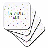 3dRose La Multi Ani. Happy Birthday in Romanian Colorful Rainbow Text Romania - Soft Coasters, Set of 4 (cst_202050_1)