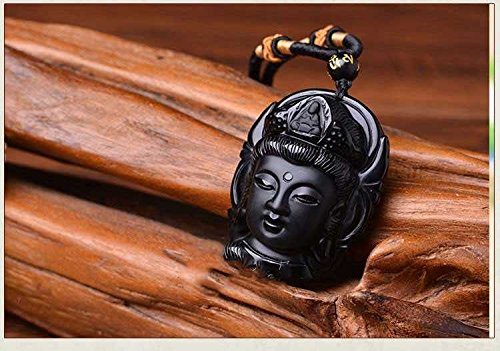 - usongs Scrub Buddha head men and women same paragraph genuine natural crystal necklace pendant Ugyen obsidian necklace pendant Guanyin head necklace pendant
