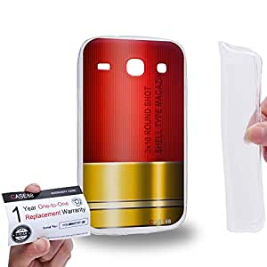 Case88 [Samsung Galaxy Core i8260 / i8262] Gel TPU Carcasa/Funda & Tarjeta de garantía - Art Fashion Red Shoutgun Magazine Gunner Metal Slugs