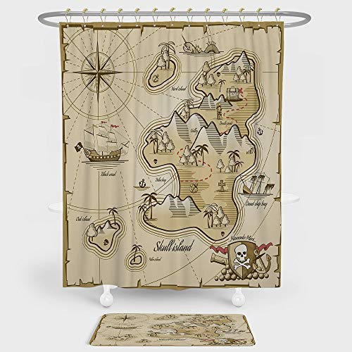 iPrint Pirate Shower Curtain And Floor Mat Combination Set Hand Drawn Map of Treasure Island Sea Adventure Ocean Navigation Compass For decoration and daily use Light Brown Sand Brown