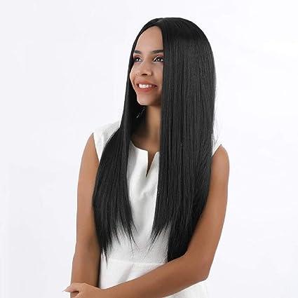 Novopus:Peluca Larga pelucas sintéticas rectas 20 pulgadas Peluca negra Cosplay resistente al calor o pelucas de fiesta para mujeres negras o blancas, H: Amazon.es: Belleza